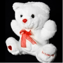 Peluche Lorie blanc/rouge